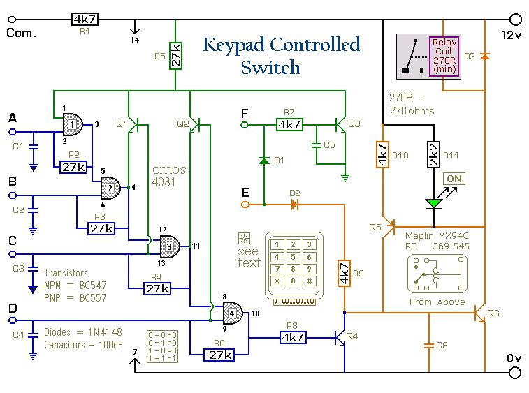 4 Digit Keypad Switch Circuit Diagram