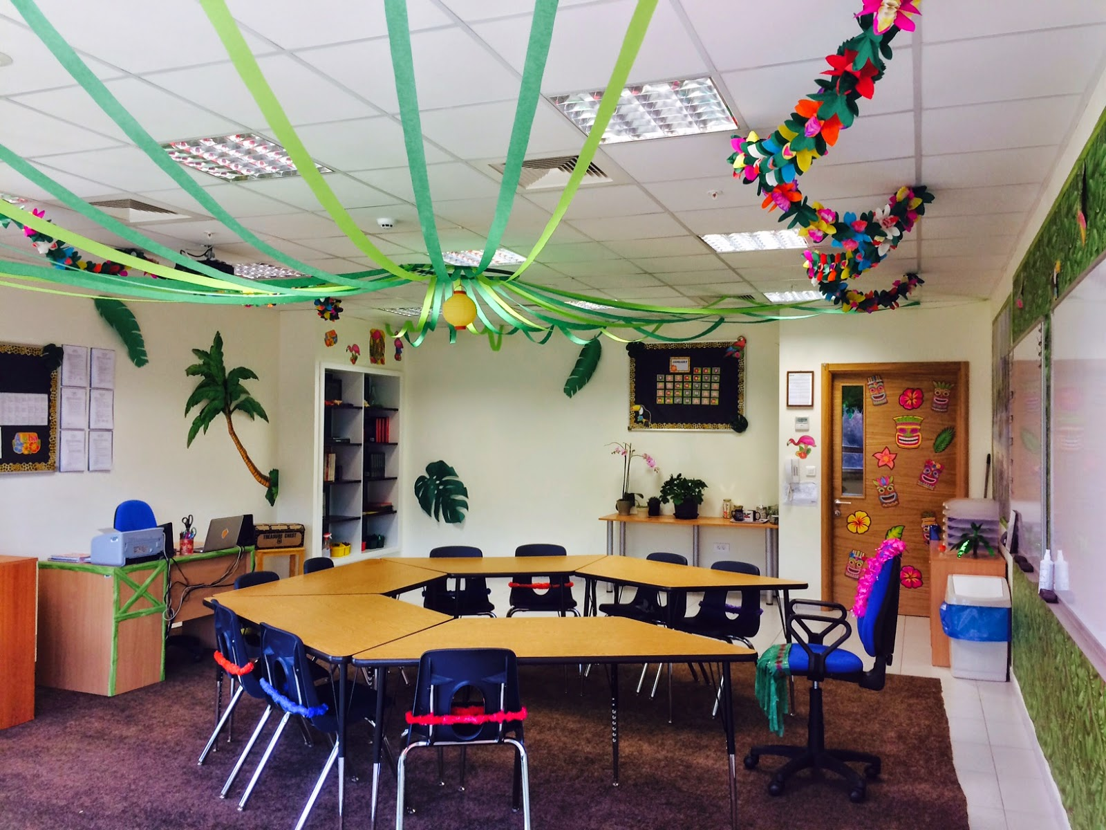 Classroom Hanging Decor ~ The charming classroom island jungle theme