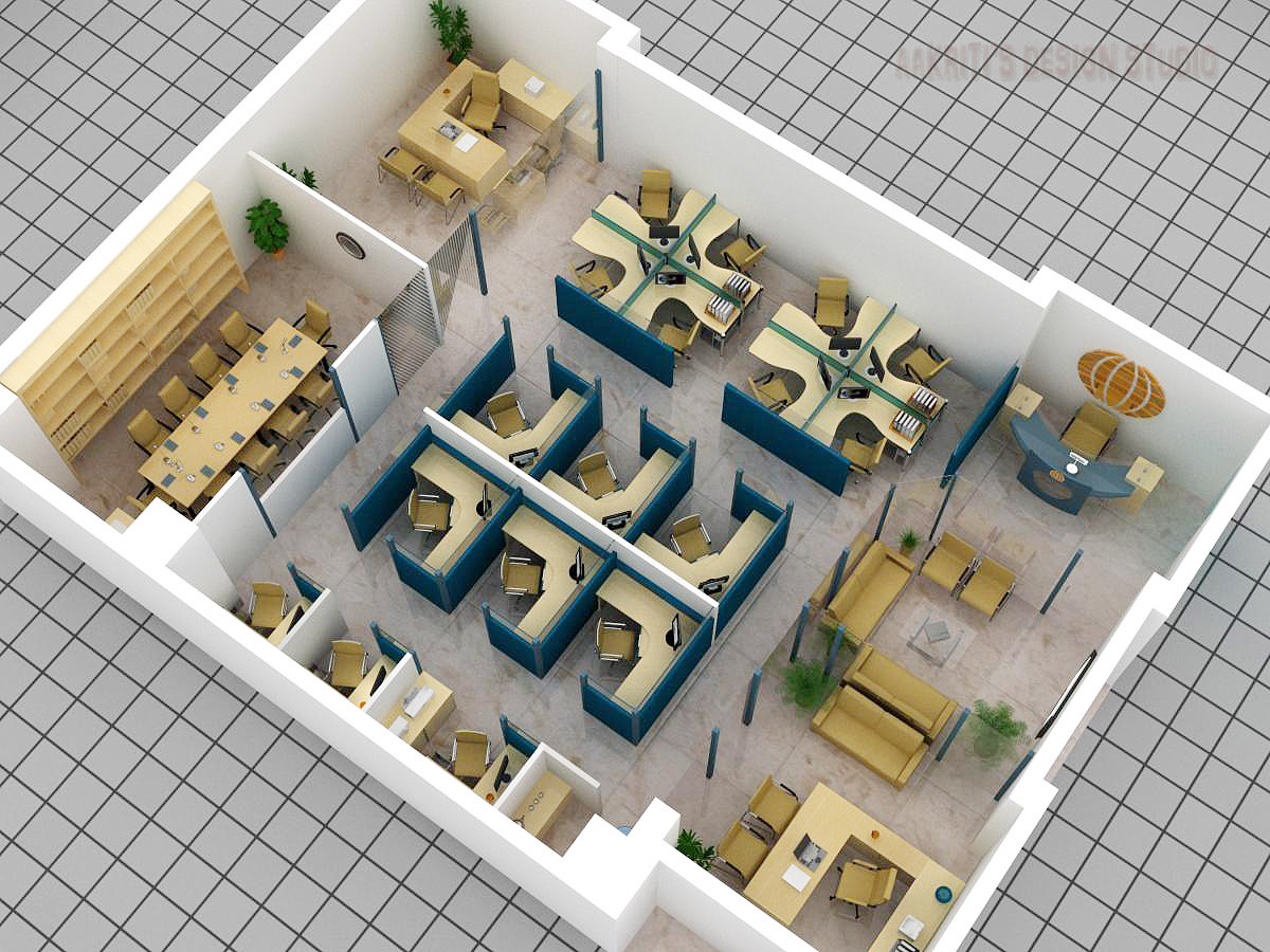 3d floor plan of office for Office table 3d design