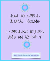 photo of How to Spell Plural Nouns, pdf, Ruth S. TeachersPayTeachers.com, plural nouns