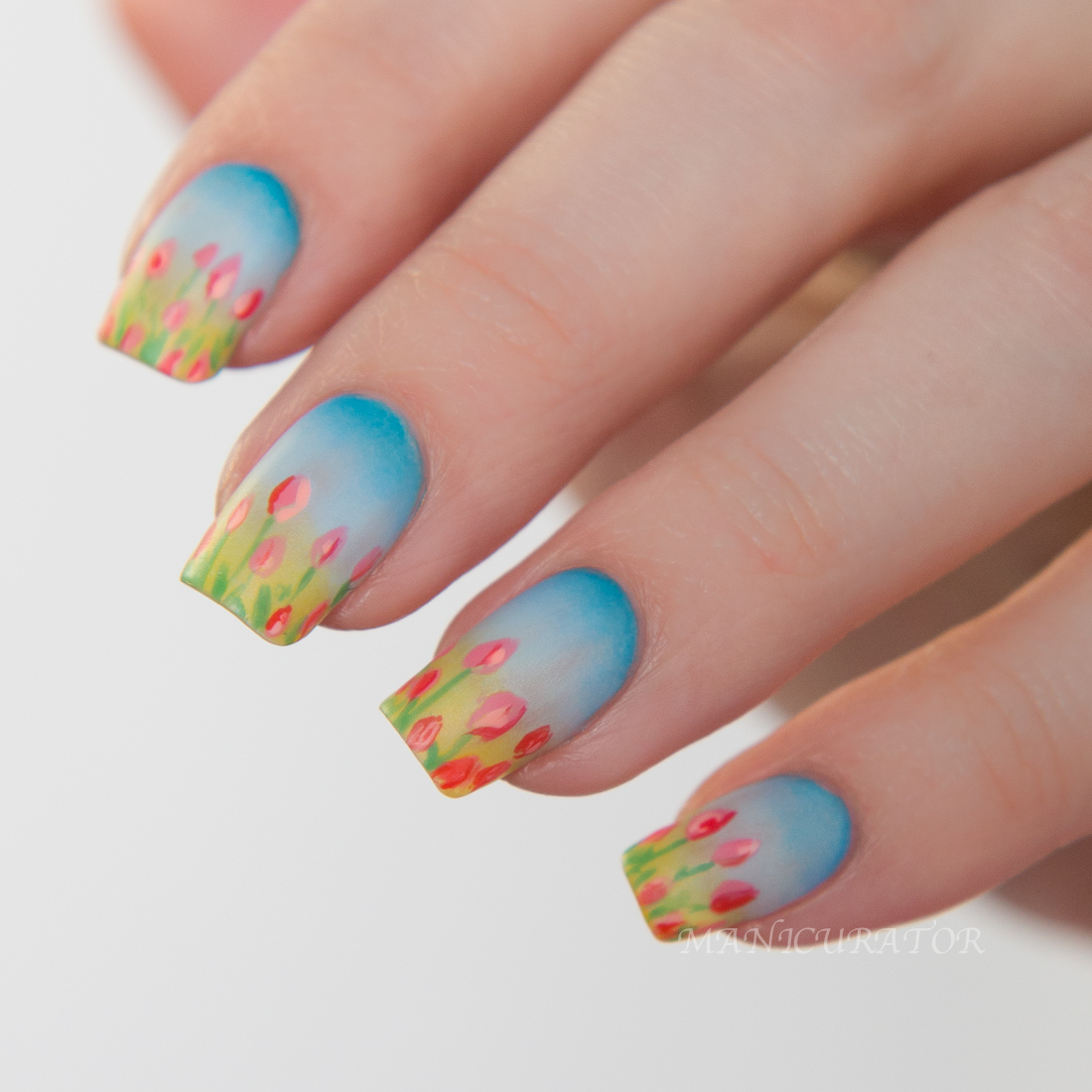 China glaze road trip spring 2015 freehand tulip nail art i used all but one for this design and i included that swatch at the end prinsesfo Gallery