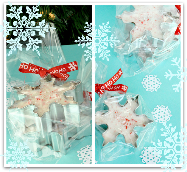 Snowflake Peppermint Bark! [Gift inside the cookie cutter]