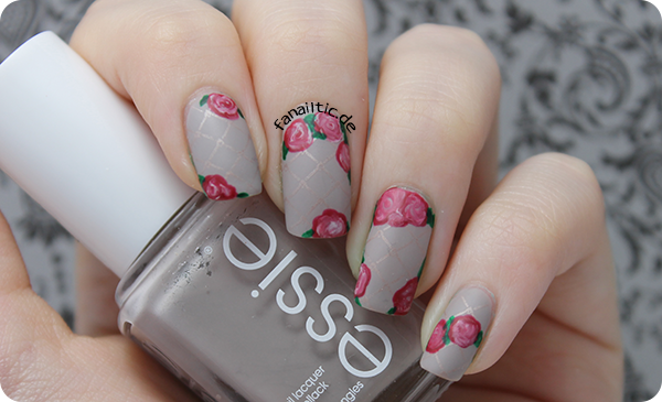 "essie ""take it outside"" rose nailart"