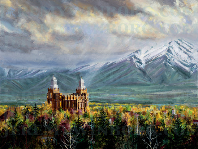 a painting of the Logan LDS temple with beautiful light in the sky