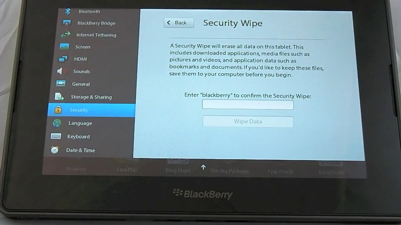 How to reset Blackberry Playbook - How To Solve Samsung