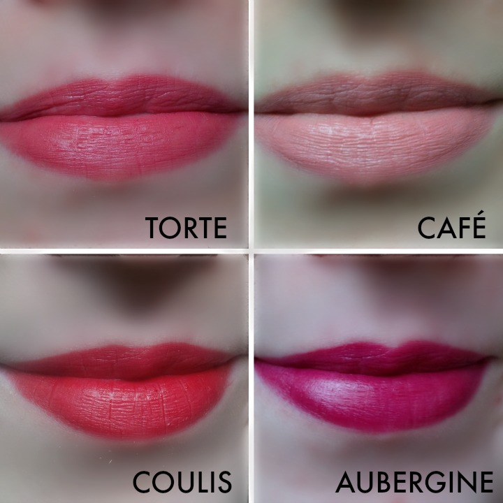 Bite Beauty Best Bite Rewind Set Café, Torte, Coulis, Aubergine lip swatches