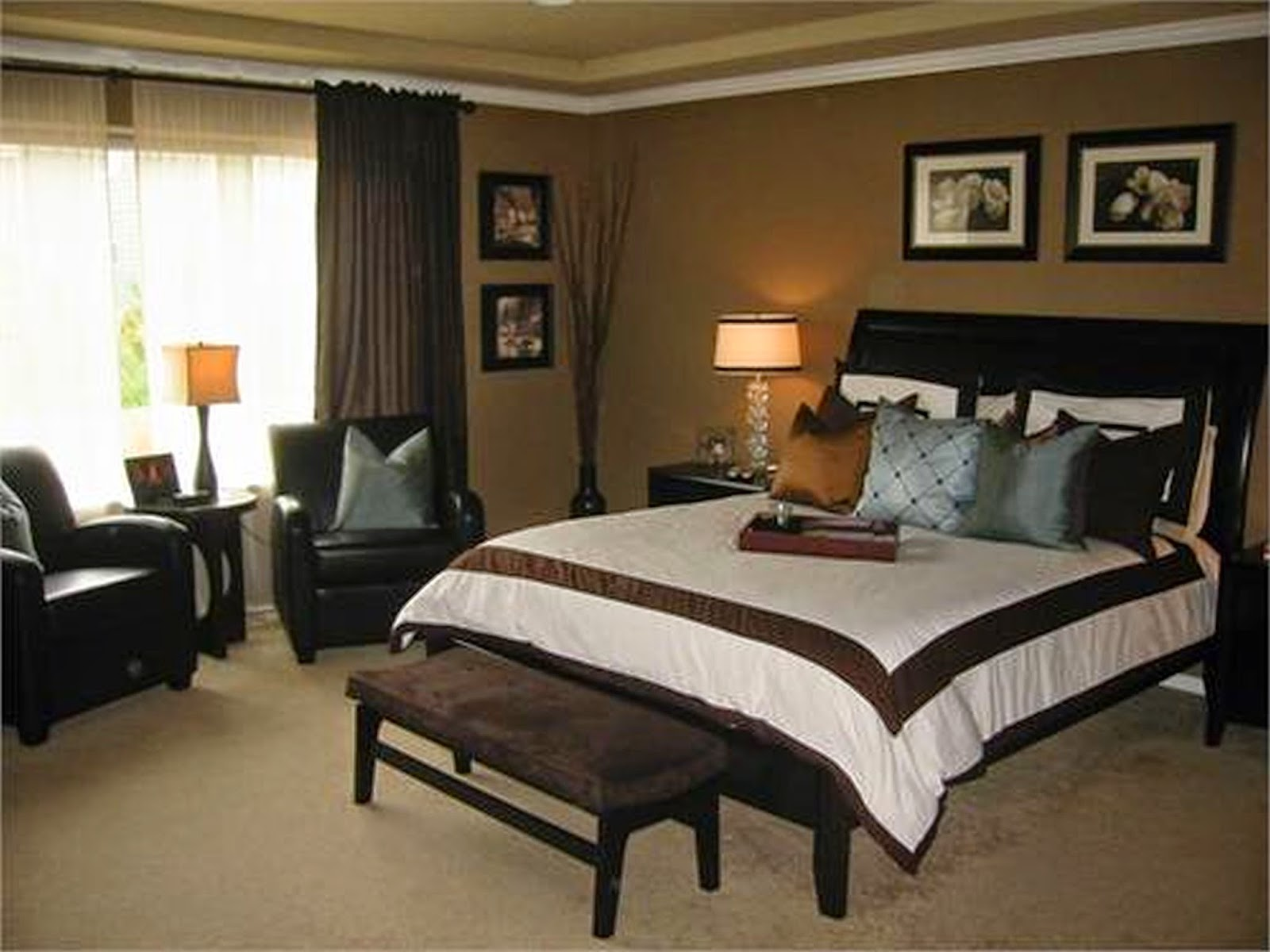 How to use brown curtains in the interior design for Dark brown bedroom designs