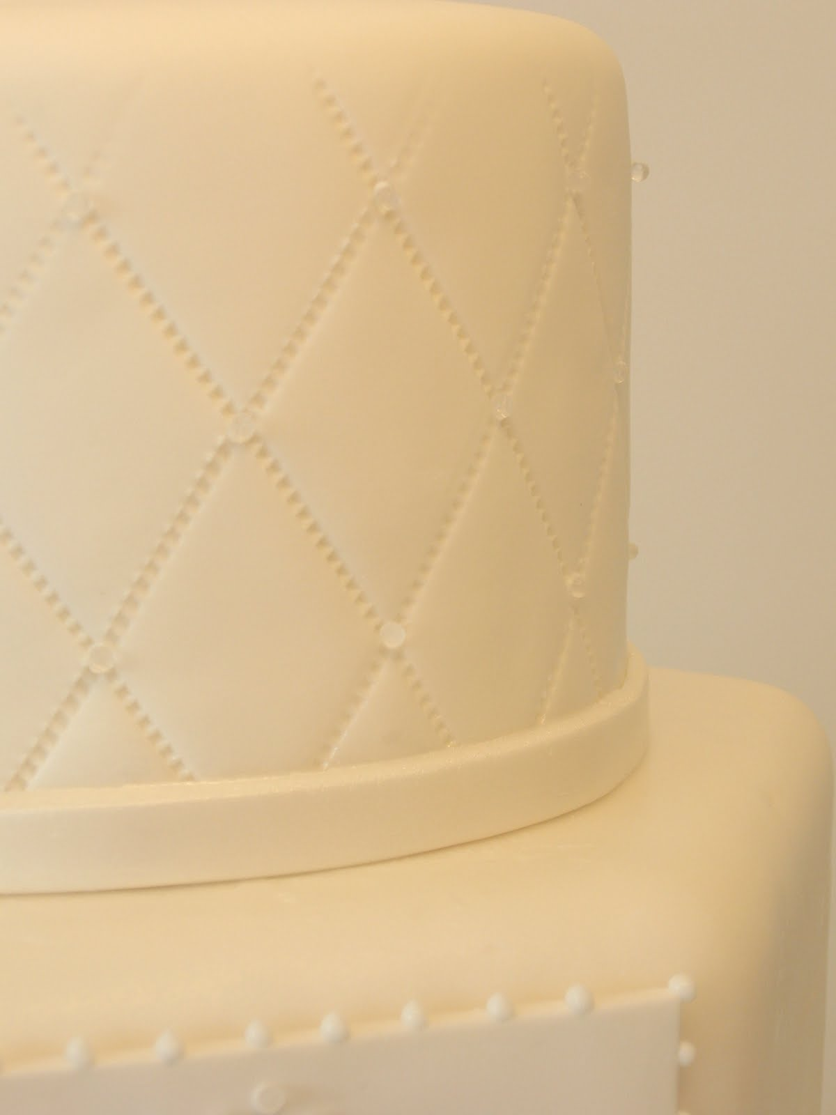 Cake Fiction: Quilted Wedding Cake with Diamond Studs