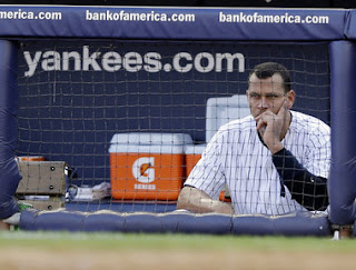 Alex Rodriguez, New York Yankees, dugout, alone, slump, depressed