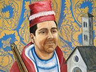 Autoretrat de l'Antoni Palou en el retaule de la capella de Sant Pere de Postius