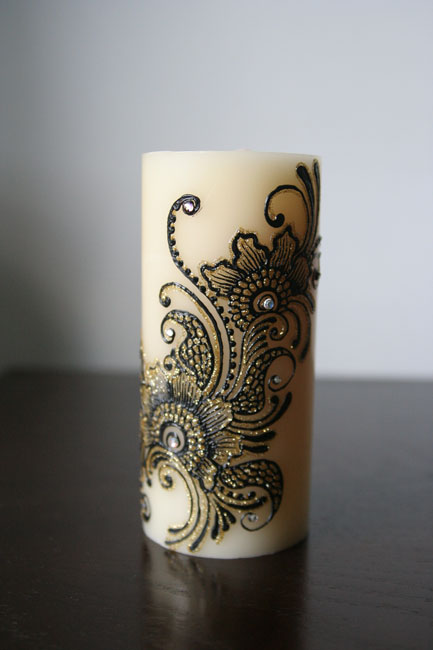 Mehndi Candles Facebook : Mehndi designs on candles all about fashion