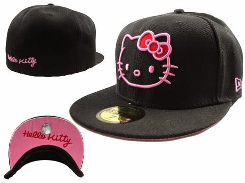 Gambar Topi Hello Kitty Lucu Hitam Pink Penutup Kepala Imut