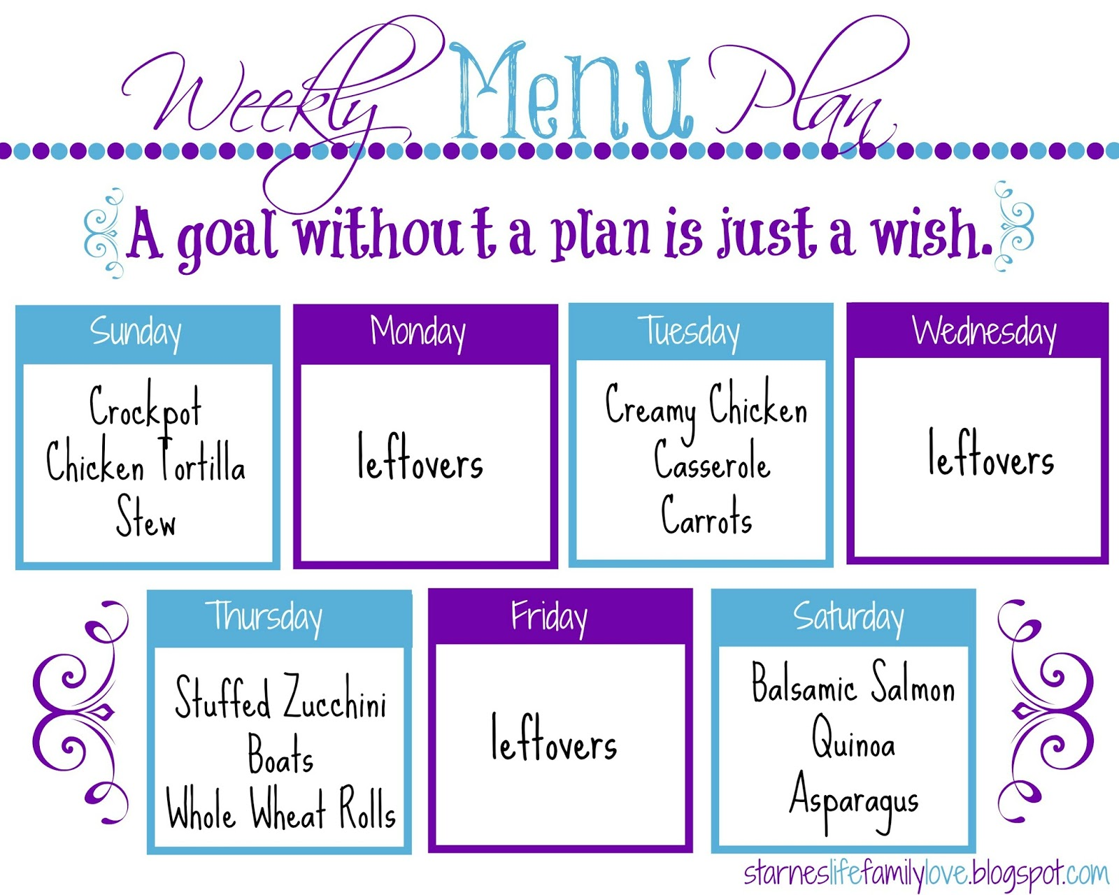 Menu Plan: Week Of 01.04.15  Free Weekly Menu Templates