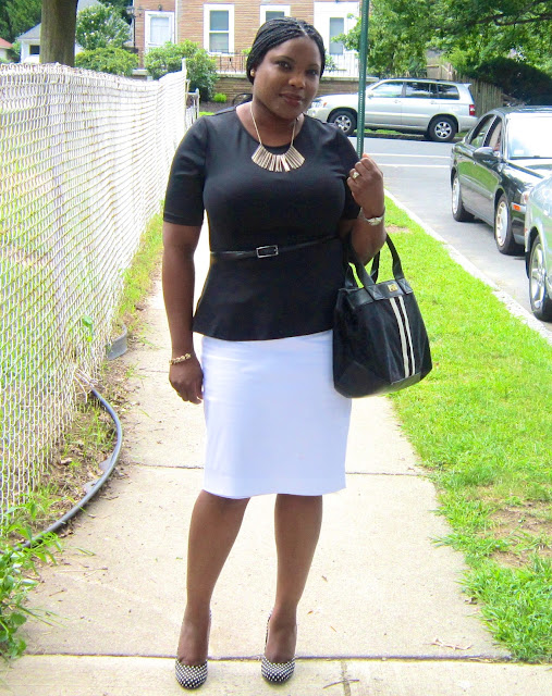 peplum, white pencil skirt, polka dot shoes, tommy hilfiger bag