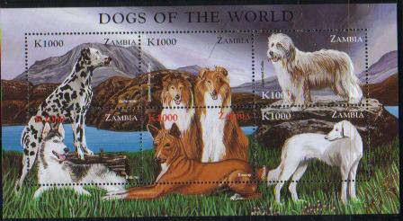 1999年ザンビア共和国 ダルメシアン シェットランド・シープドッグ ベアデッド・コリー シベリアン・ハスキー バセンジー サルーキの切手シート