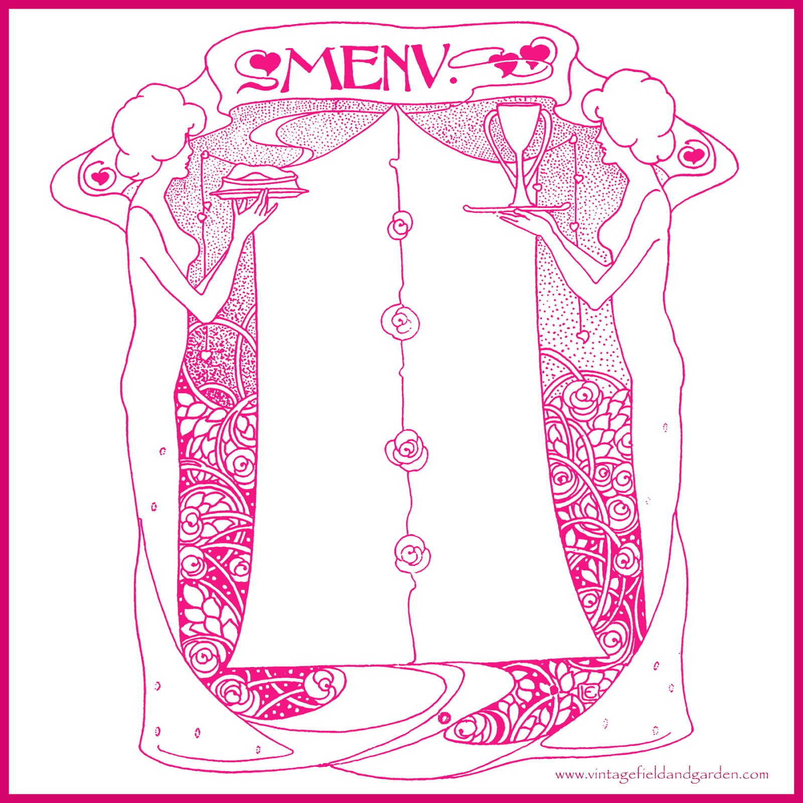 ... Templates: 1902 Art Nouveau Ladies with Food & Drink Menu Design