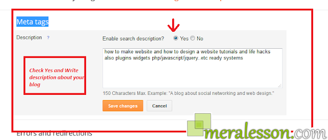 Enabling Meta Description & Post Search Description in blogger