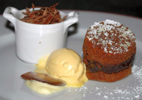 Moist Chocolate Cake with Malt Ice Cream