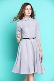 Gray/Lilac Three Quarter Sleeve Three Quarter Sleeve Peter Pan Collar Flare Dress