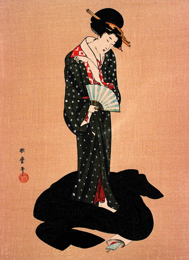 Color in japanese art - Restrained Color Palette And Exqusitely Simple Composition Characterized Utamaro S Prints Of Tall Graceful Women