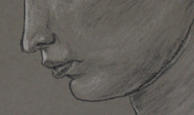 profile, drawing, sarah myers, art, head, woman, face, eyes, mouth, neck, ear, sketch, study, simple, large, grayscale, charcoal, conte, arte, dibujo, classic, figurative, human, nose, lips, chin, neck, pencil