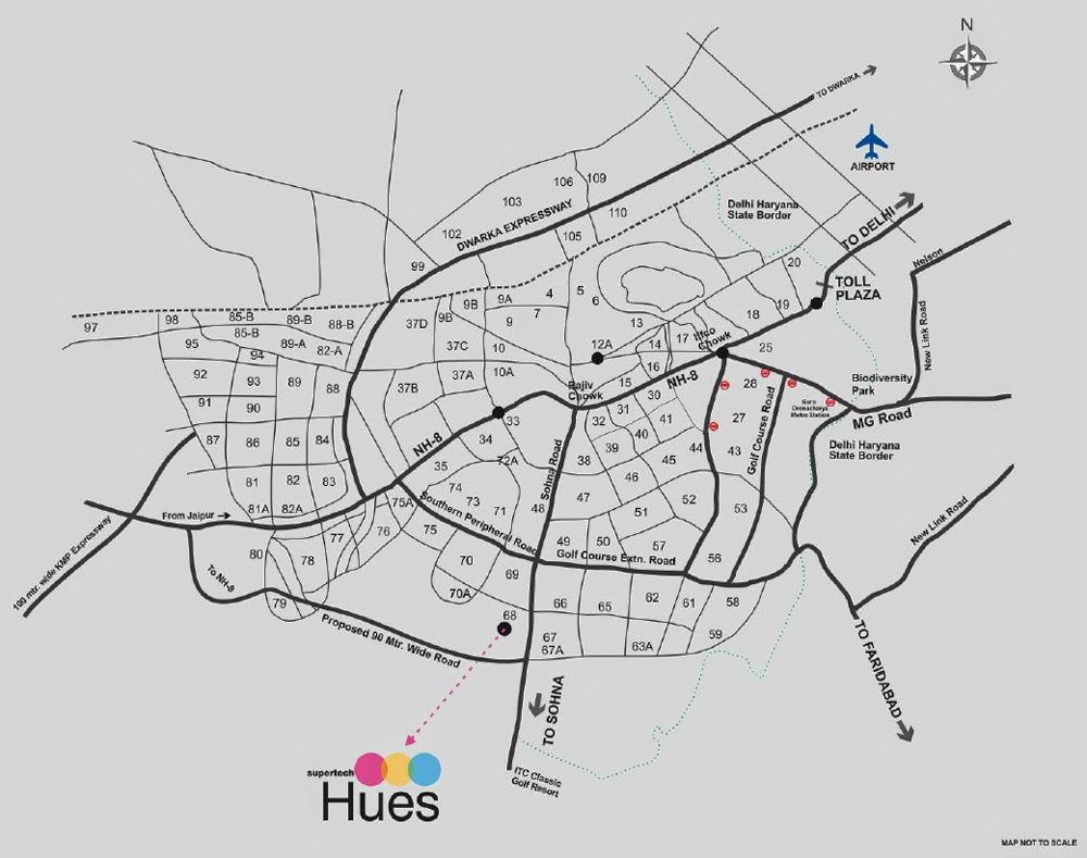Hues Supertech - Location map
