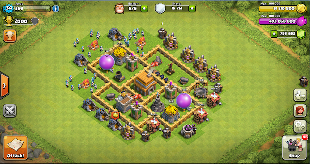 War Base Layout Clash of Clans TH 5