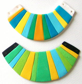 bright neon polymer clay bib necklaces tribal blue and green hues