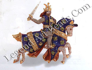 A brooch, in the shape of a charging warrior in armor, made by Verdura for Mrs. Edward R. Murrow