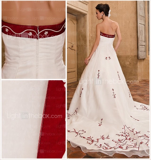 Vestido de Novia Corte A con Ribetes y Bordados  Rojos