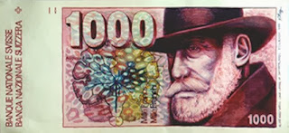 A Boggs CHF-1000 Swiss Franc note, from Demenga Gallery in Basel, Switzerland.