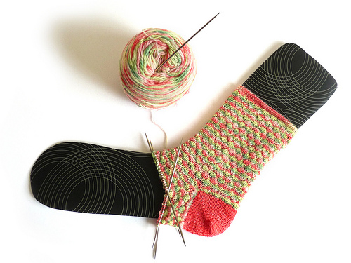 variegated yarn sock knit with contrast short row heel in yarnyard bonny