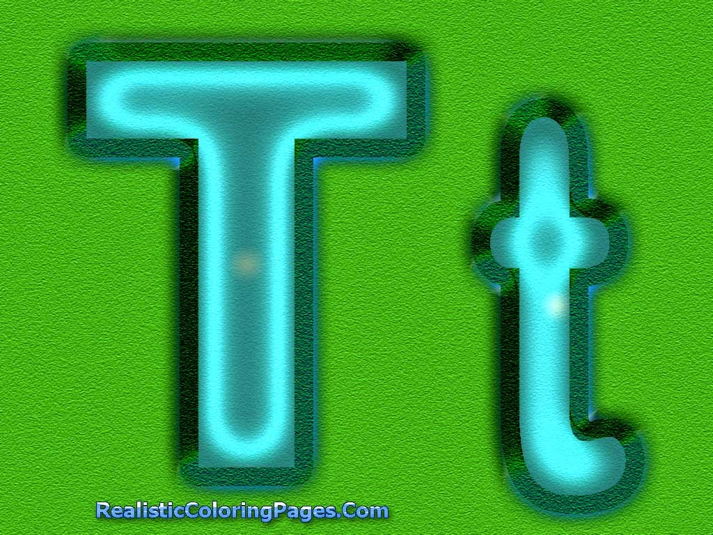 T Letters Alphabet Coloring Sheet | Realistic Coloring Pages