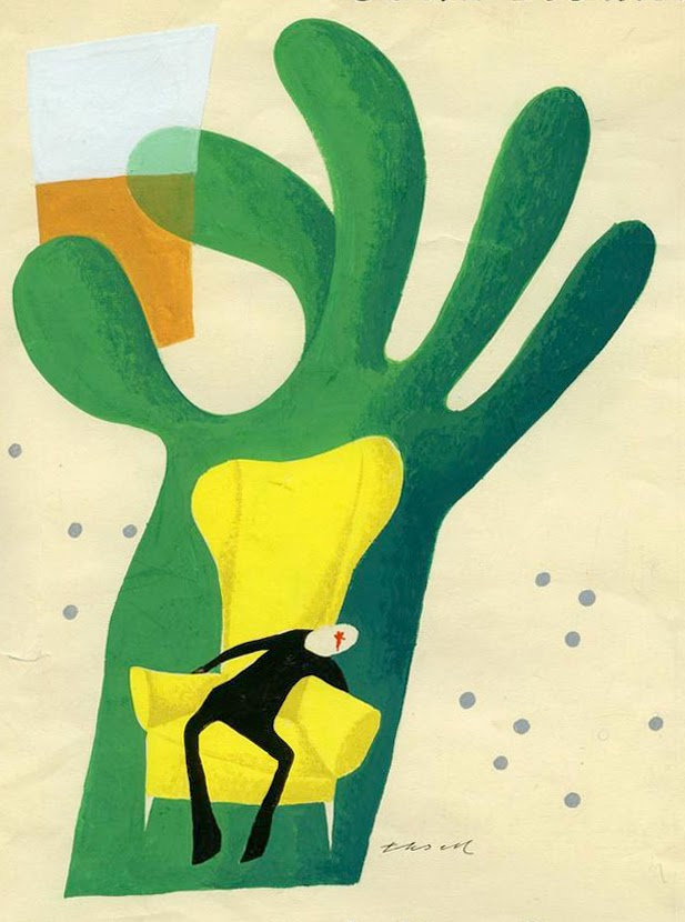 book cover illustration by Olle Eksell of someone in a yellow armchair