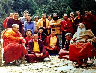 Group photos of two Tibetan Masters and their disciples
