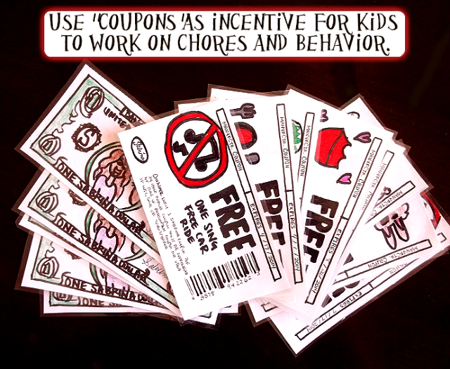 Use homemade coupons as cheap gifts to give kids an incentive to behave.