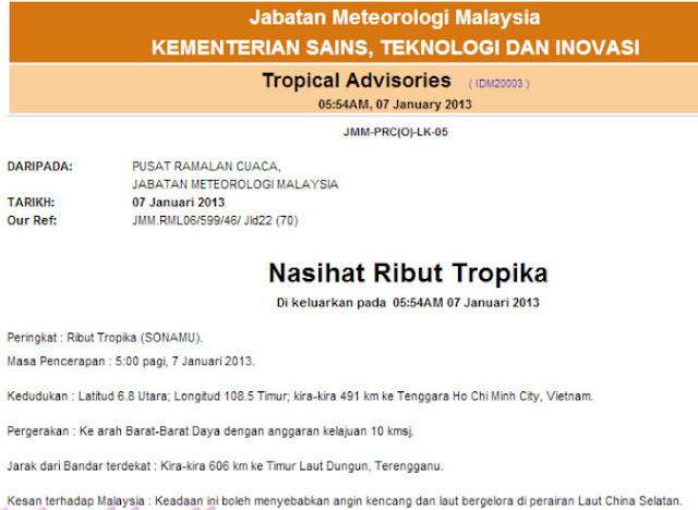 Ribut Tropika Sonamu Akan Melanda Malaysia