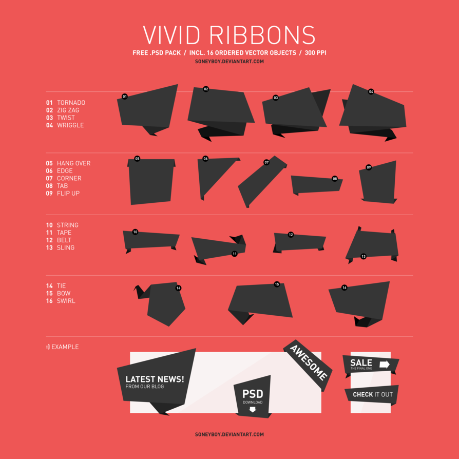 Free PSD Ribbon Pack