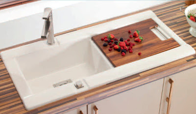 modern ceramic kitchen sink with wooden countertop