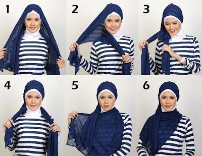 Gambar Cara Memakai Jilbab Segi Panjang Modern