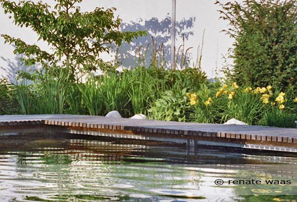 Ein Steg aus Holz über den Teich - Lärchenholz für den Steg und U-Profil Eisenträger für die Unterkonstruktion