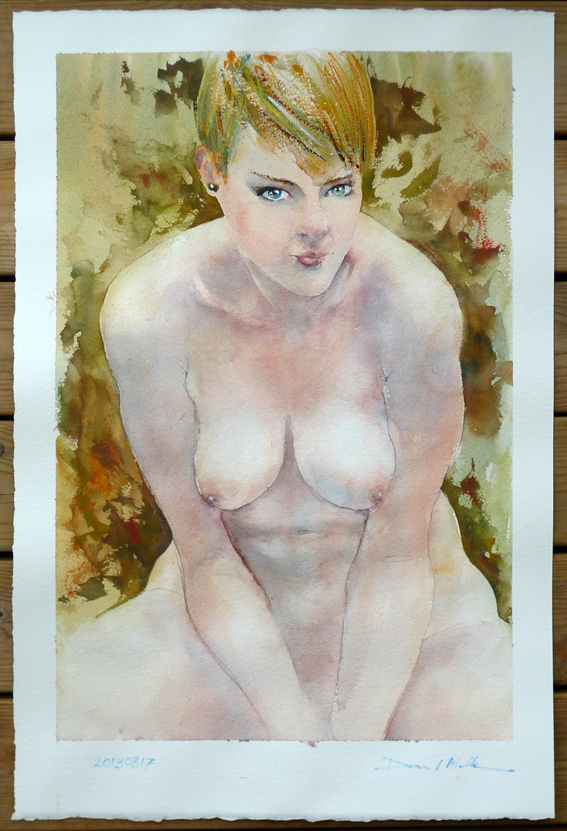 Autumn, watercolour nude by David Meldrum