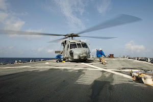 U.S. NAVY SEA HAWK HELICOPTER TAKES OFF