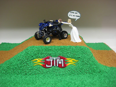 4-Wheeler Themed Groom's Cake - Close-up of Logo & Topper