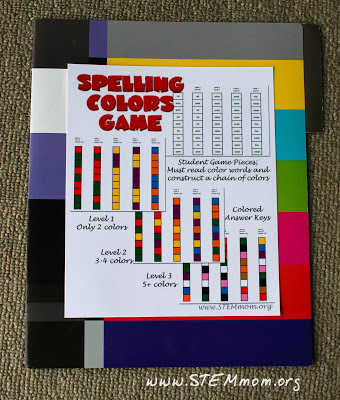 Reading Color Words Activity: File Folder Cover: STEMmom.org