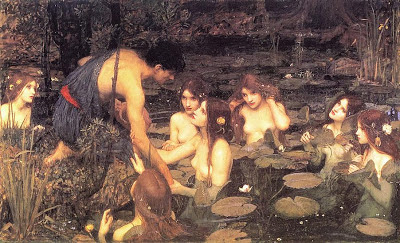 "Detalle de Hylas y las ninfas"". William Waterhouse, Mónica López Bordón, poesía, Editorial Playa de Ákaba"