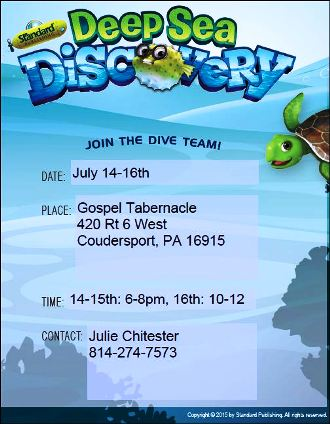 7-14/15/16 VBS At Gospel Tabernacle