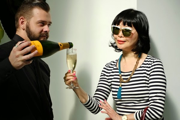 Spoilt with Veuve Clicquot at the Safilo SS 2015 Eywear showcase @ Ivy sun room. Wearing Fendi Sunglasses.