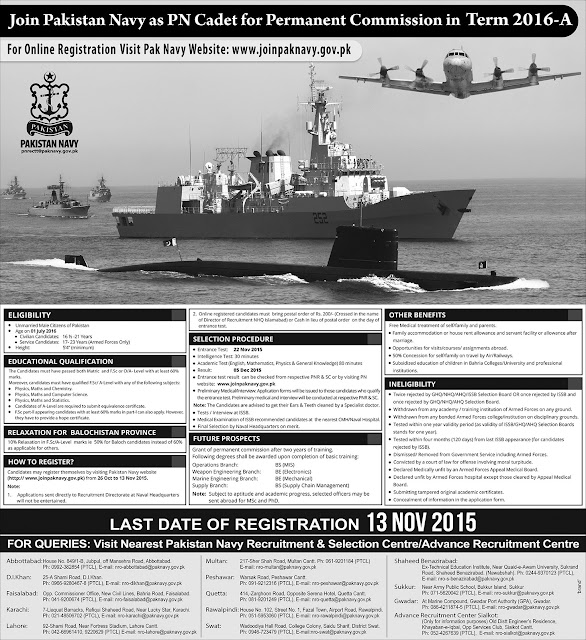 Join Pak Navy as PN Cadet for Permanent Commission