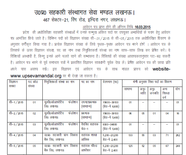 UP Seva Mandal Recruitment 2015